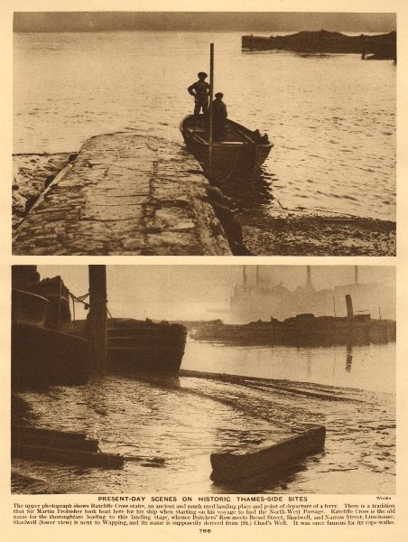 Associate Product Ratcliffe Cross stairs. Shadwell. River Thames 1926 old vintage print picture