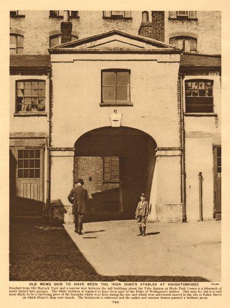 Associate Product Duke of Wellington's stables/mews, Old Barrack Yard, Knightsbridge 1926 print