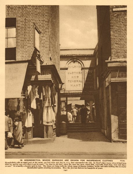 Associate Product Houndsditch clothes markets. Jewish area 1926 old vintage print picture