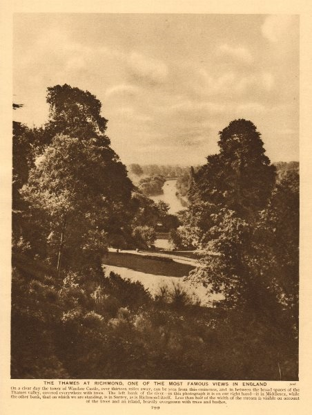 Associate Product The Thames at Richmond, one of the most famous views in England 1926 old print