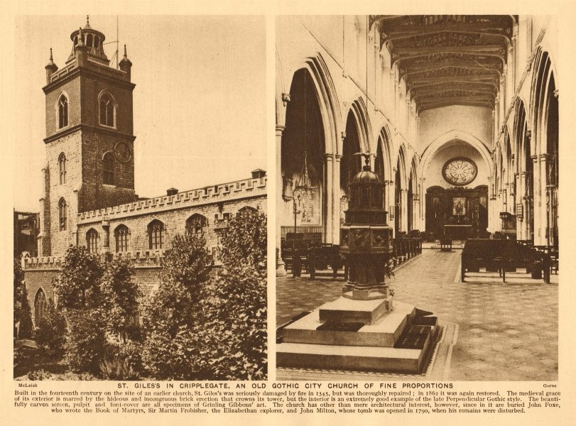 Associate Product St. Giles's in Cripplegate, an old gothic church 1926 vintage print