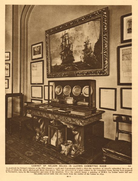 Associate Product Cabinet of Nelson relics in Lloyd's Committee room 1926 old vintage print