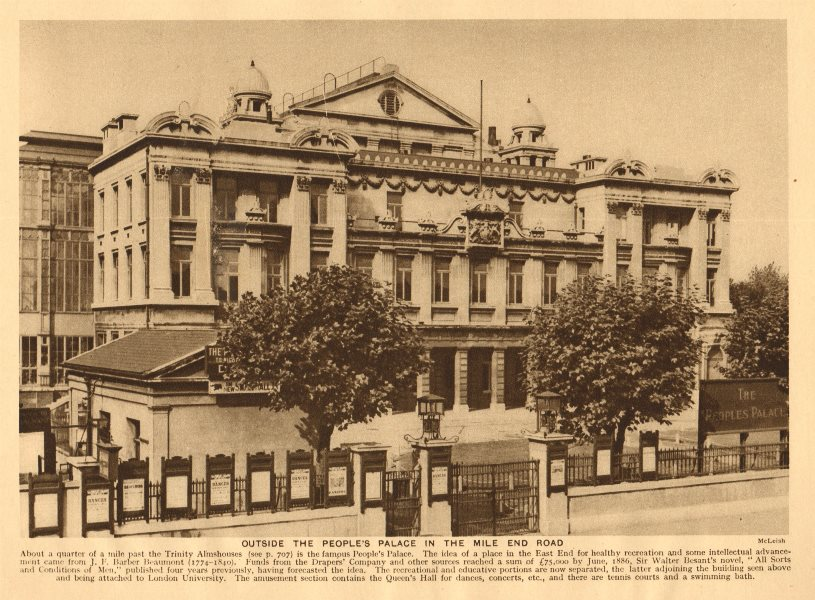 Associate Product Outside the People's Palace in the Mile End Road 1926 old vintage print