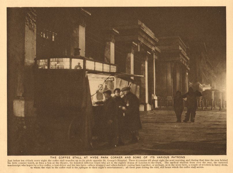 Associate Product The coffee stall at Hyde Park Corner by St George's Hospital 1926 old print