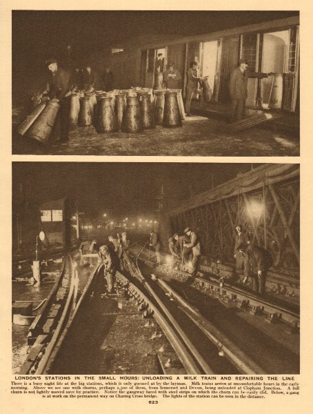 Associate Product Unloading milk churns from Devon & Cornwall at Clapham Junction 1926 old print