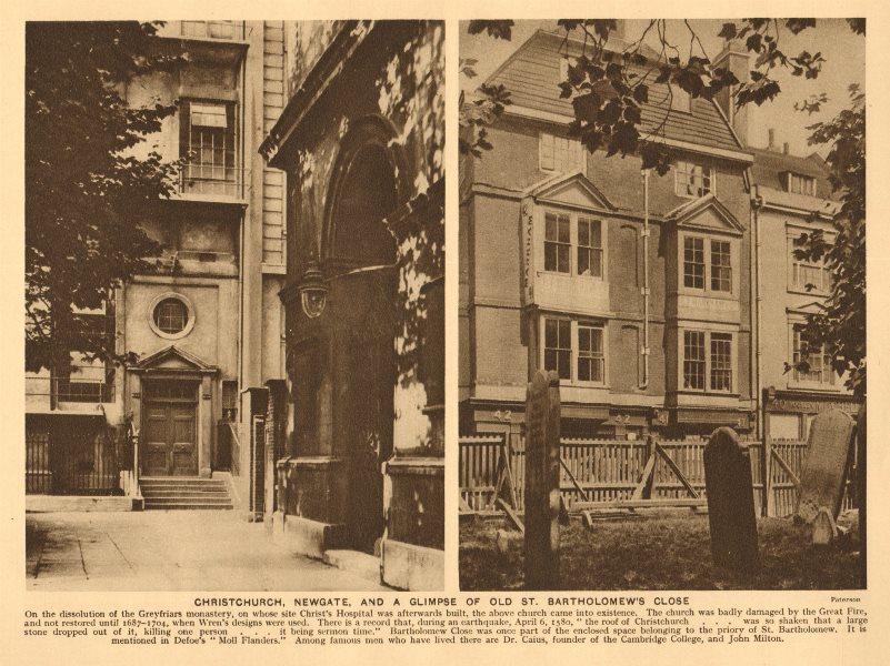 Associate Product Christchurch, Newgate, and a glimpse of old St. Bartholomew's Close 1926 print