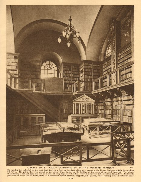 Associate Product Library of St. Paul's Cathedral up in the western transept 1926 old print