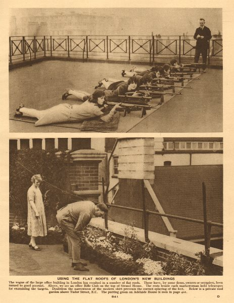 Associate Product London's flat roofs. Rifle Club, Strand House. Garden, Tudor Street 1926 print