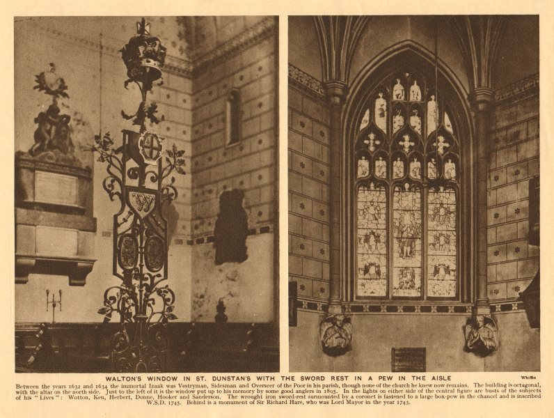 Associate Product St Dunstan-in-the-West, Fleet Street. Walton's window. Sword rest 1926 print
