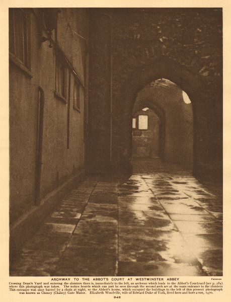 Associate Product Archway to the Abbot's court at Westminster Abbey 1926 old vintage print