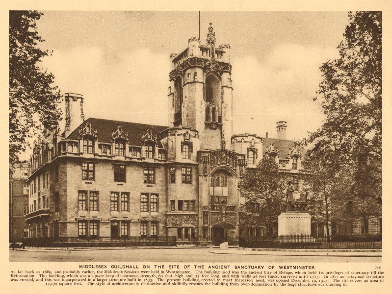 Associate Product Middlesex Guildhall, Parliament Square. Now the Supreme Court 1926 old print