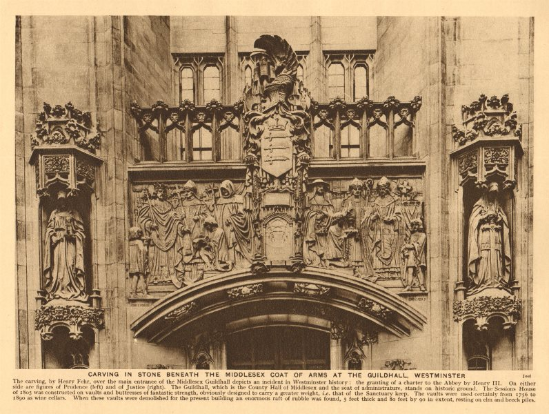 Associate Product Carving & Middlesex Coat of Arms at the Guildhall. Supreme Court 1926 print