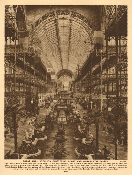 Associate Product The Crystal Palace Great Hall, Sydneham 1926 old vintage print picture