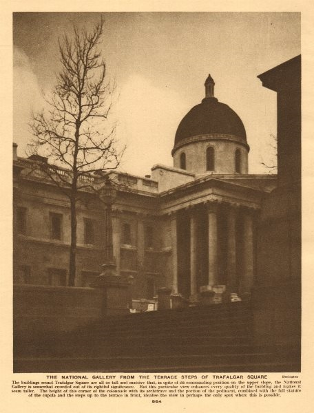 Associate Product The National Gallery from the terrace steps of Trafalgar Square 1926 old print