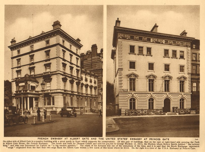 Associate Product French Embassy Albert Gate.US Ambassador's residence 14 Princes Gate 1926