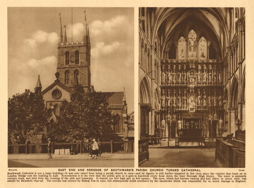 Associate Product East end and reredos of Southwark Cathedral 1926 old vintage print picture