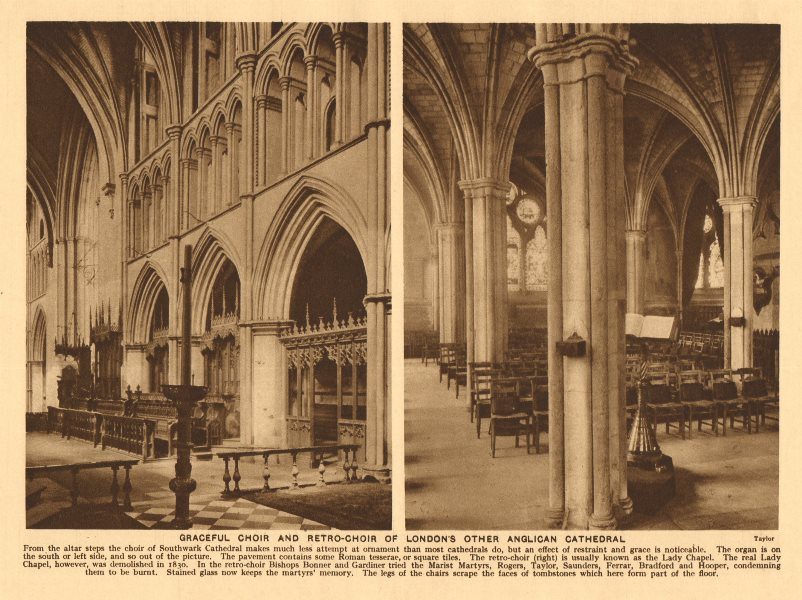 Associate Product Southwark Cathedral. Choir and retro-choir 1926 old vintage print picture