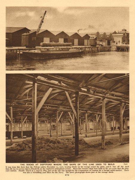 Associate Product Deptford docks & storage sheds from where Drake set sale 1926 old print