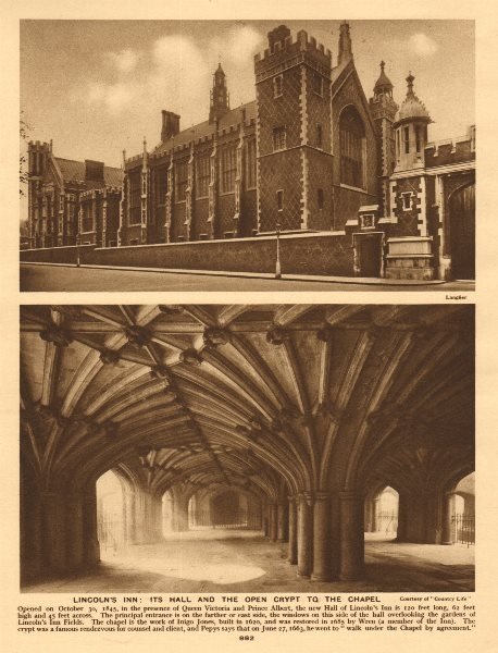 Associate Product Lincoln's Inn. Great Hall and chapel crypt 1926 old vintage print picture