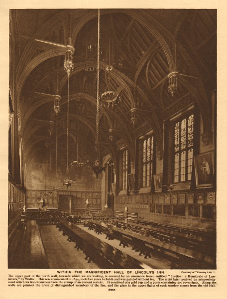 Associate Product Within the Great Hall of Lincoln's Inn 1926 old vintage print picture