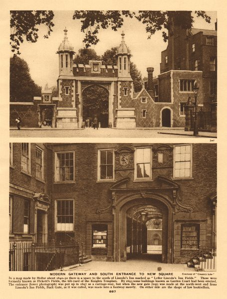 Associate Product Lincoln's Inn. Gateway and south entrance to New Square 1926 old vintage print