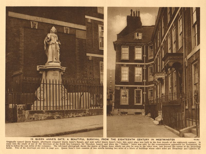 Associate Product Queen Anne's Gate, Westminster 1926 old vintage print picture