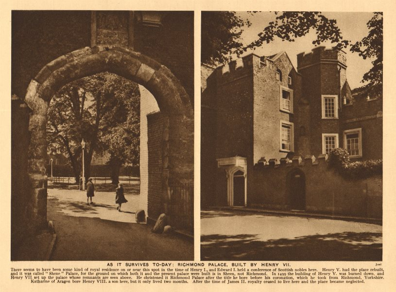 Associate Product Richmond Palace Gate House, built by Henry VII. 1926 old vintage print picture