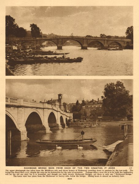 Associate Product Richmond Bridge from the Middlesex and Surrey sides 1926 old vintage print