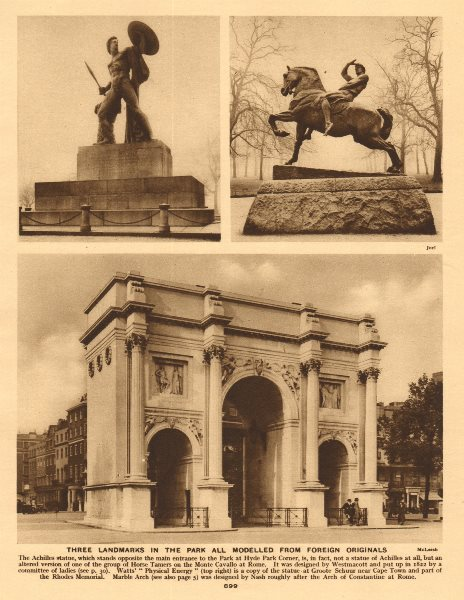 Associate Product Hyde Park landmarks. Marble Arch. Achilles. Physical Energy 1926 old print