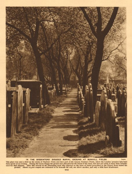 Associate Product In the dissenters' disused burial ground at Bunhill fields 1926 old print