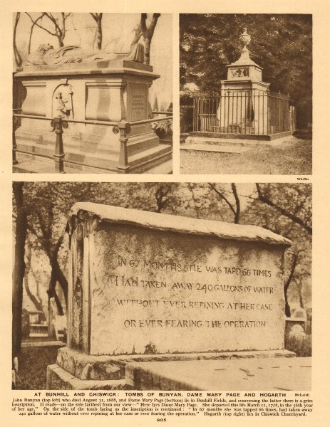 Associate Product At Bunhill & Chiswick. tombs of Bunyan, Dame Mary Page and Hogarth 1926 print