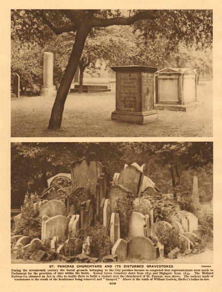 Associate Product St. Pancras churchyard & its disturbed gravestones. The Hardy Tree 1926 print
