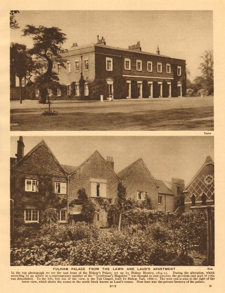 Associate Product Fulham Palace from the lawn and Laud's Apartment 1926 old vintage print