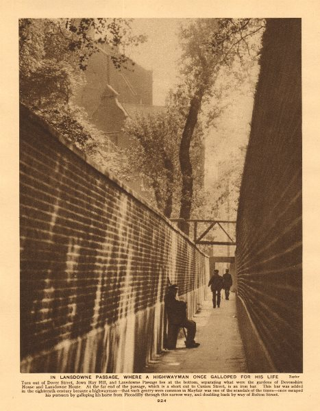 Associate Product Lansdowne Passage now Lansdowne Row, used by escaping highwayman 1926 print