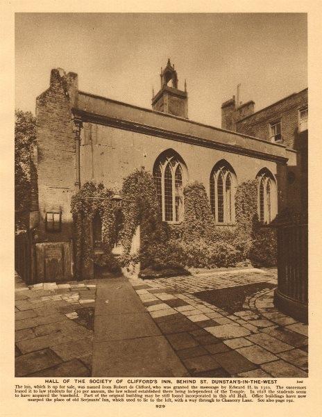 Associate Product Clifford's Inn Society Hall, behind St. Dunstan's-in-the-West. Fleet Street 1926