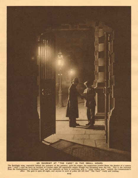 Associate Product Scotland Yard, Embankment entrance. Police officers 1926 old vintage print