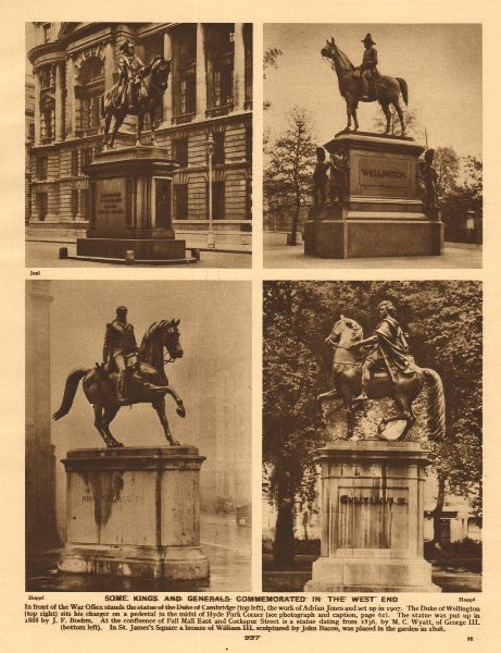 Associate Product London statues. Dukes of Cambridge/Wellington. King George III. William III 1926