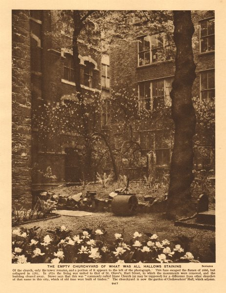 Associate Product The empty churchyard of what was All Hallows Staining 1926 old vintage print
