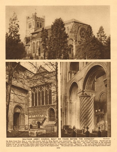 Waltham Abbey church, built six years before the Norman Conquest 1926 print