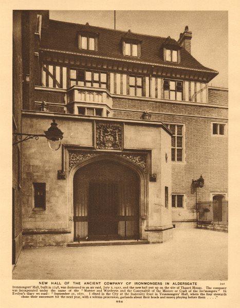 Associate Product Worshipful Company of Ironmongers Hall, Aldersgate. Livery 1926 old print