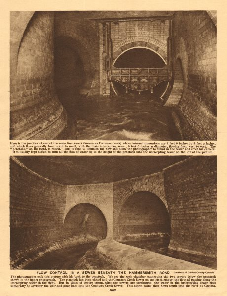 Counters Creek flow control in a sewer beneath the Hammersmith Road 1926 print