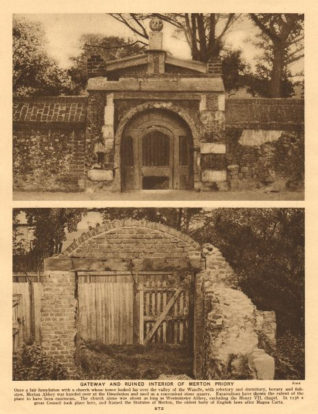 Associate Product Gateway and ruined interior of Merton Priory 1926 old vintage print picture