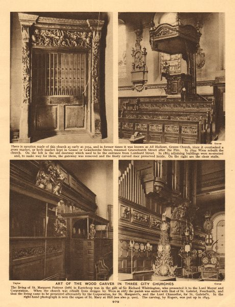 Associate Product City churches. St Margaret Pattens St Mary-at-Hill All Hallows Gracechurch 1926