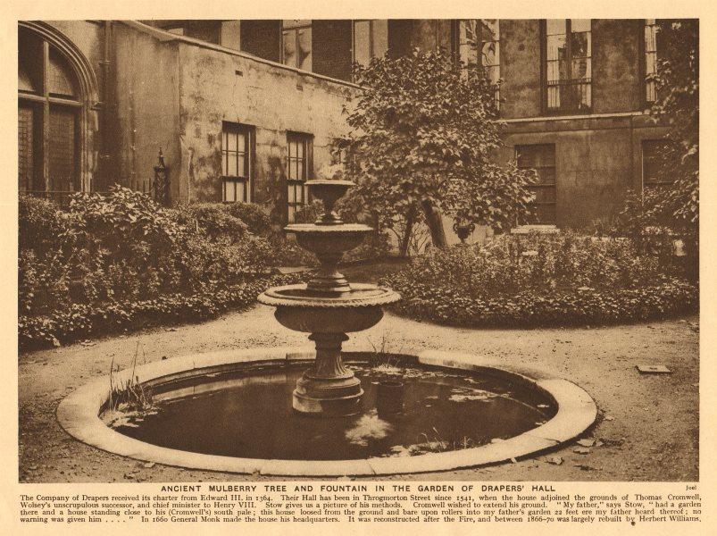 Associate Product Drapers' Hall. Mulberry tree fountain garden. Throgmorton Street 1926 print