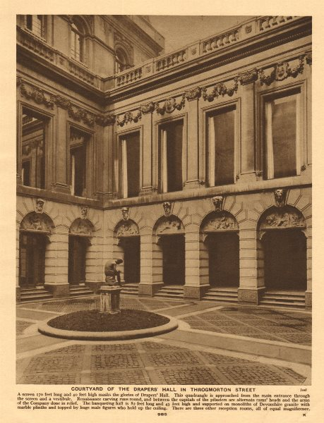 Associate Product Courtyard of the Drapers' Hall in Throgmorton Street 1926 old vintage print