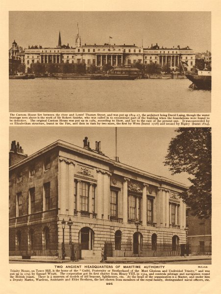 Associate Product The Custom House, City of London & Trinity House, Tower Hill 1926 old print