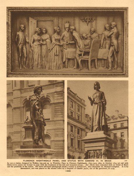 Associate Product Florence Nightingale panel & Statue. Waterloo Place. Edward VI 1926 old print