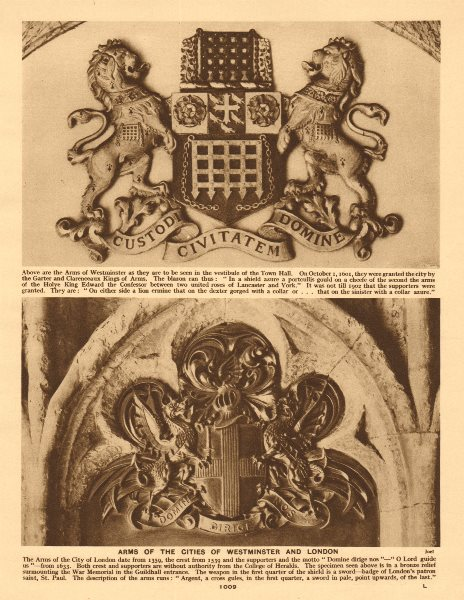 Associate Product Arms of the Cities of Westminster and London 1926 old vintage print picture