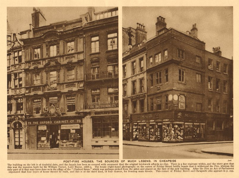 Associate Product Post-fire houses, in Cheapside. Friday Street corner 1926 old vintage print