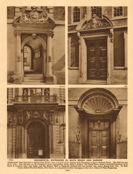 London City doorways. Apothecaries Hall. Lazard's. Mercers Hall. Bolt Court 1926